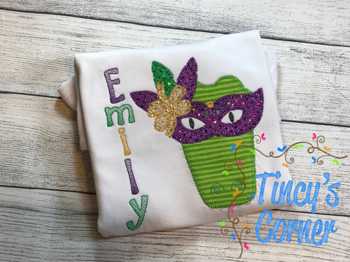 Mardi Gras Alligator Mask Applique