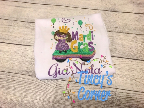 Mardi Gras Float Girl Applique