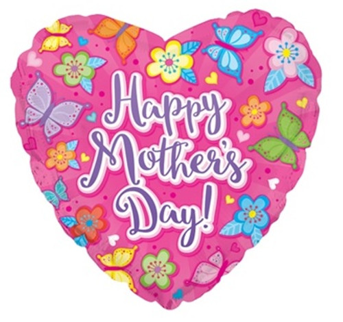 Happy Mother's Day Flowers Butterfly Foil Balloon