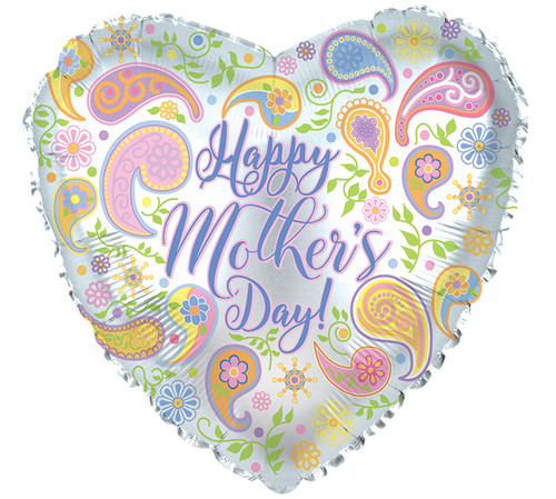 Happy Mother's Day Paisley Heart Foil Balloon