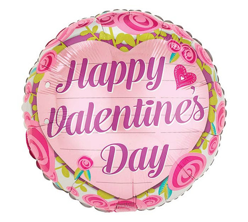 Happy Valentine's Day Modern Roses Foil Balloon