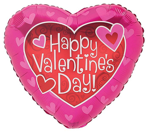 Happy Valentine's Day Red/Pink Hearts Foil Balloon