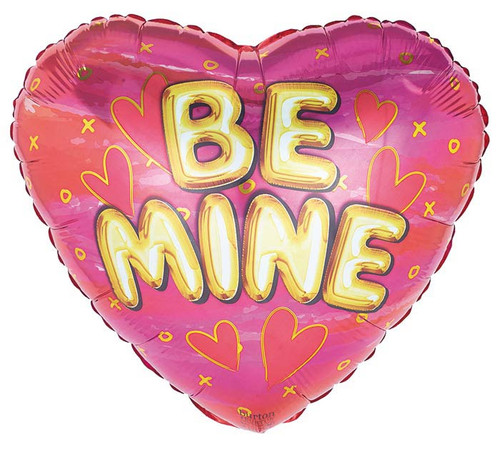 Valentine Be Mine Gold on Pink Heart Foil Balloon