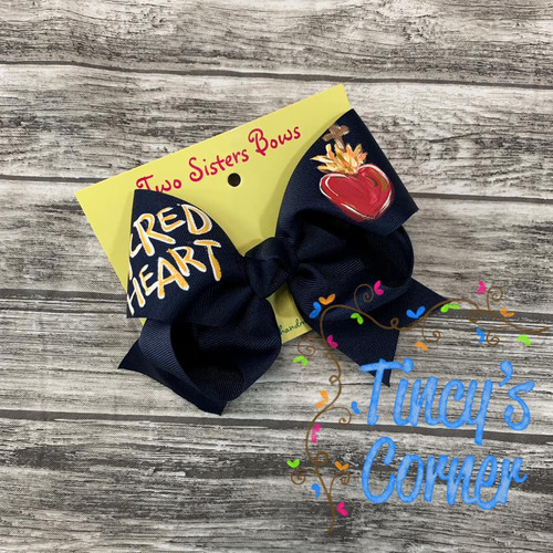 Sacred Heart Navy Boutique Hair Bow