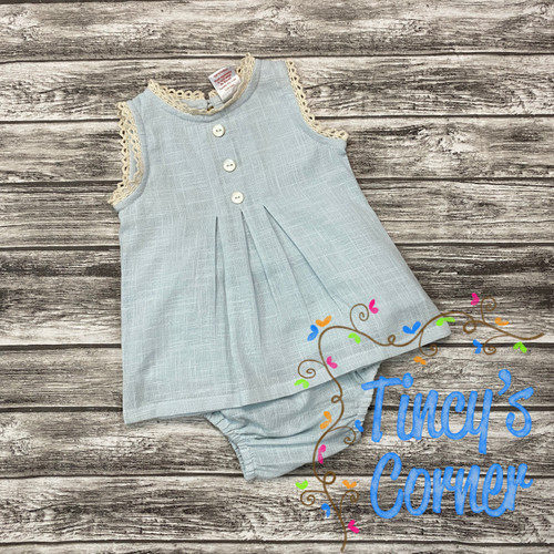 Girl's Infant Linen Lt. Blue Top with Bloomers