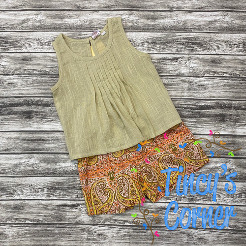 Linen Wheat Tank w/Paisley Shorts Set
