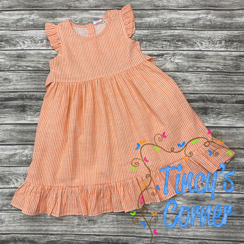 Sleeveless Coral Stripe Girl's Dress