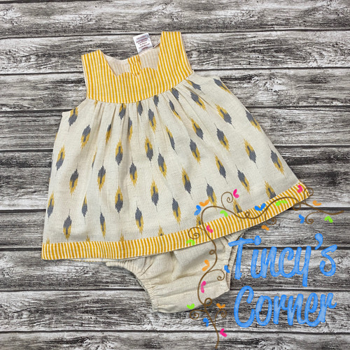 Yellow Stripe Feather Infant Dress