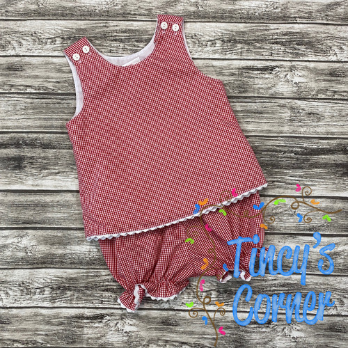 Red Gingham Top w/Bloomers