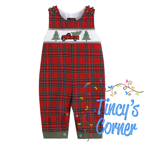 Red Plaid Truck & Tree Smocked Overalls