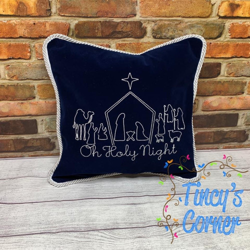 Oh Holy Night Nativity Embroidery Pillow