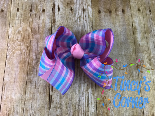 Berry Madras Pink Plaid Boutique Hair Bow
