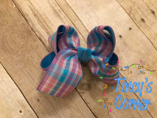 Berry Madras Turquoise Blue Plaid Boutique Hair Bow