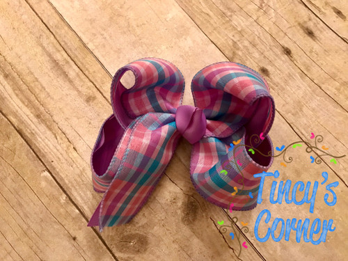 Berry Madras Lavender Plaid Boutique Hair Bow