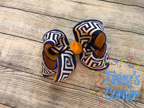 Greek Royal Blue and Gold Boutique Hair Bow