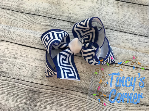 Greek Royal Blue and White Boutique Hair Bow