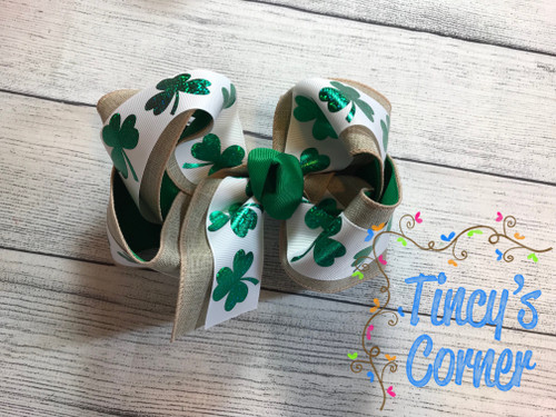 St. Patrick's Day Shamrock Linen and White Boutique Hair Bow