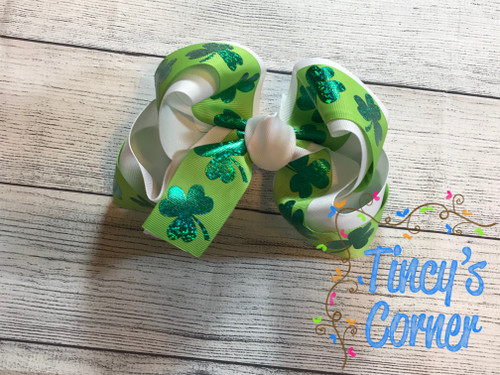 St. Patrick's Day Shamrock Lime Green and White Boutique Hair Bow