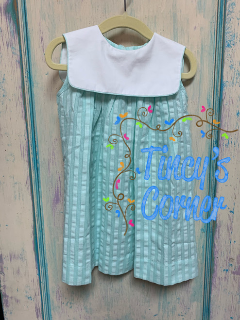 Girl's Aqua Sleeveless Bib Dress