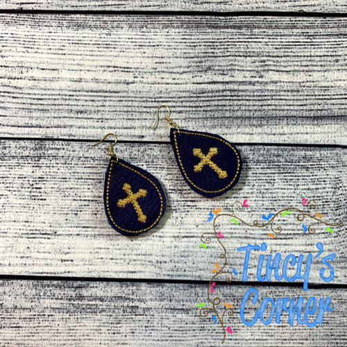 Navy Faux Leather w/Gold Cross Earrings - Medium 2""