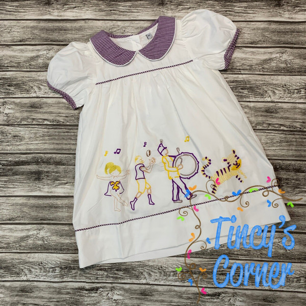 Tiger Game Day Dress in Purple and Gold