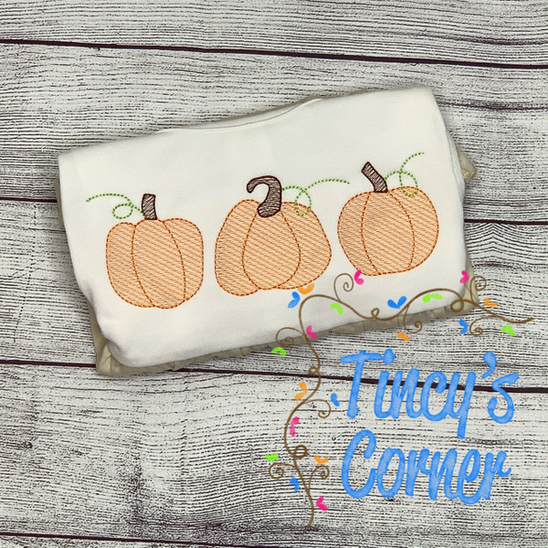Pumpkin Trio Sketch Embroidery
