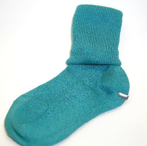 Children's Teal Cuffed Cotton Socks  Size  4 - 5.5