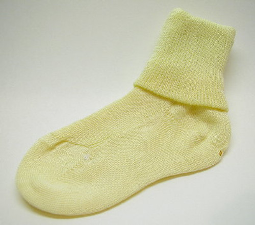 Children's Yellow Cuffed Cotton Socks  Size  4 - 5.5