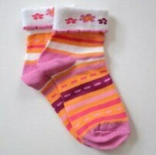 Pink and orange flowered girls socks