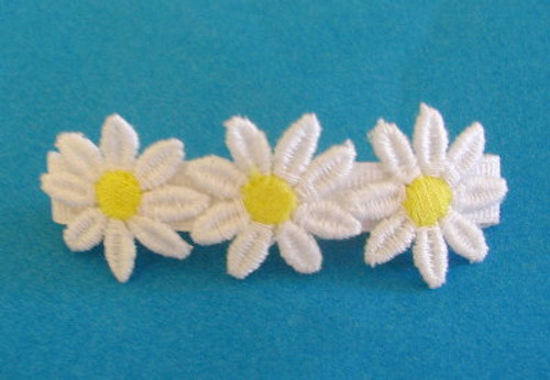 Girls Hair Barette - Yellow and White Daisy Flowered 6 Pieces