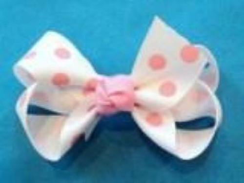 Girls hair bow white pink