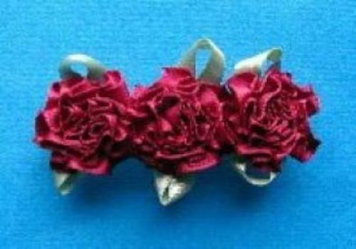 flowered hair barrette burgundy cranberry