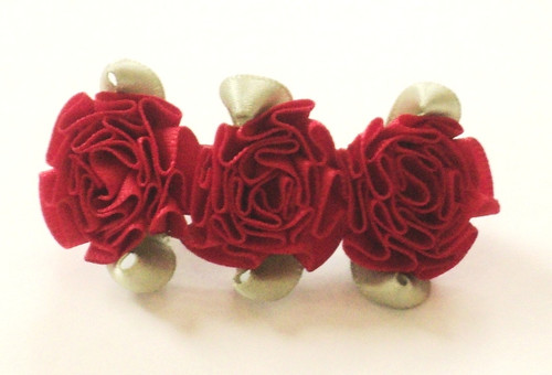 Girls Hair Accessory  - Red Flowered Bow Clip - 6 Pieces