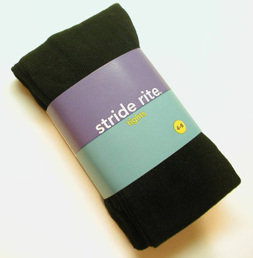 Girls Tights - Black Heavy Cotton Stride Rite Size 2 - 4