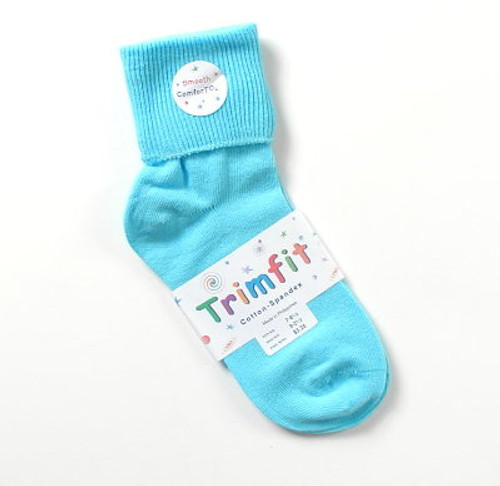 Girls Socks - Bright Aqua Cuffed Size 7 - 8.5