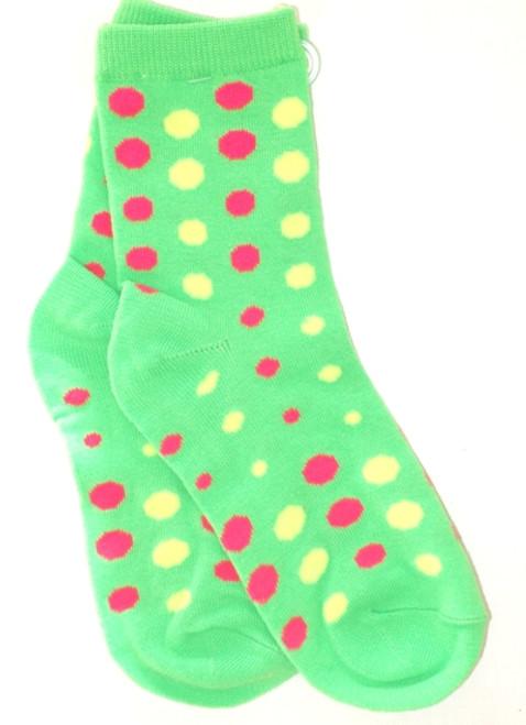 Girls Socks - Green Neon Dot Ankle Size 8 - 9.5