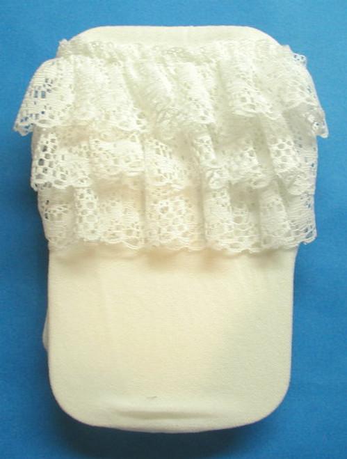 baby tights rhumba ruffled white