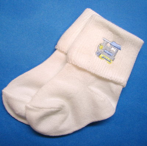 White Infant Socks with Embroidered Train Size 0 - 6 Months
