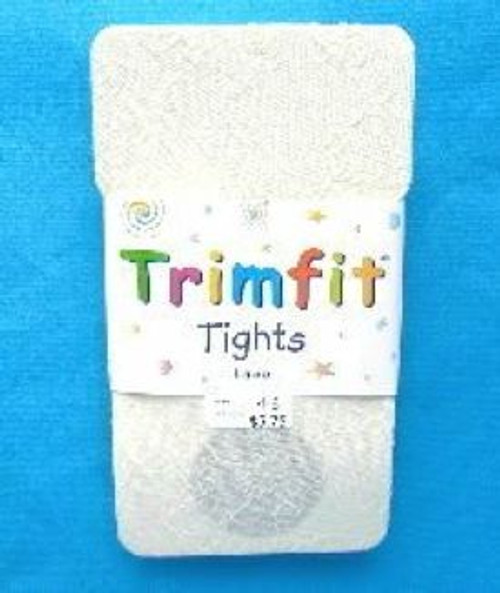 Ivory Lace Girls Tights Trimfit Size 8 - 10