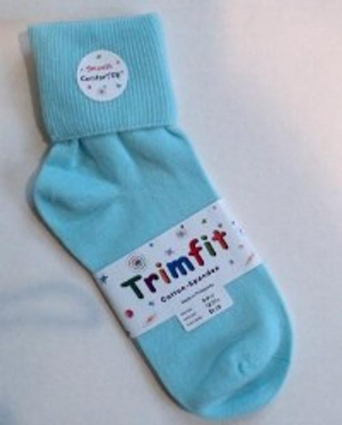 Girls Socks - Light Aqua Cuffed Size 8 -9.5