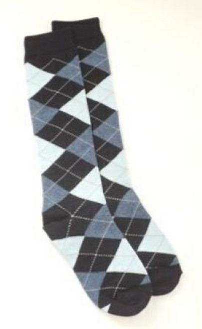 Girls knee socks navy blue argyle