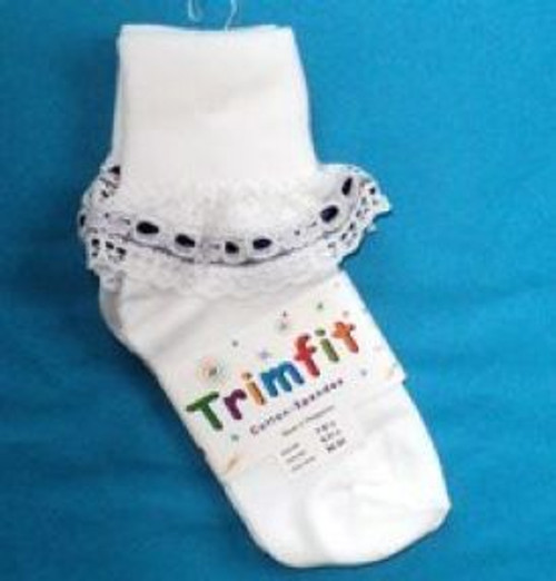 girls socks white ruffled with navy