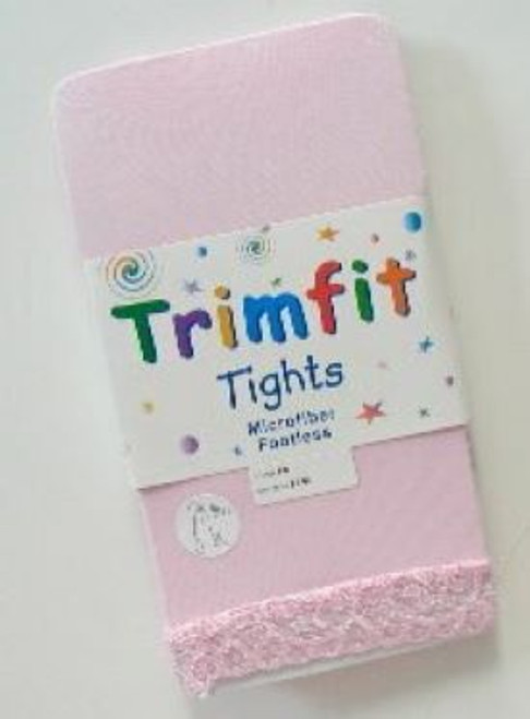 Footless tights for girls light pink lace edge