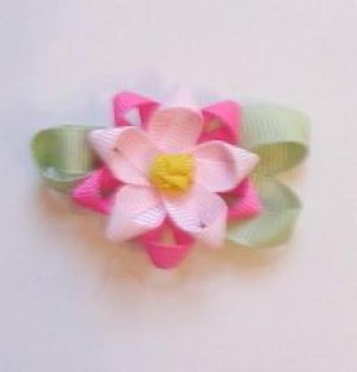 Pink flowered hair bow