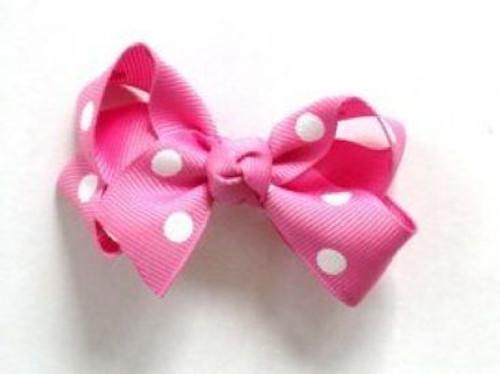 Girls pink polka dot hair bow