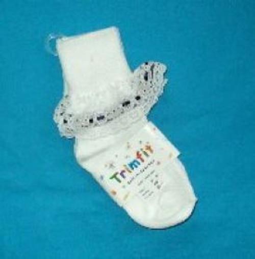girls socks white ruffled with navy