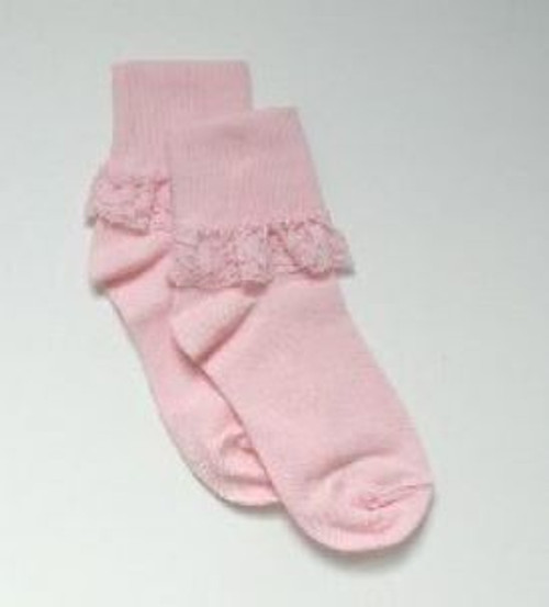 Girls pink socks lace edge