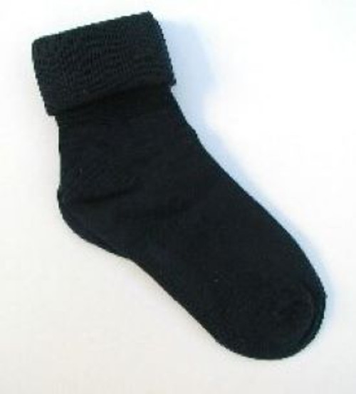 Children's toddler socks black cuffed