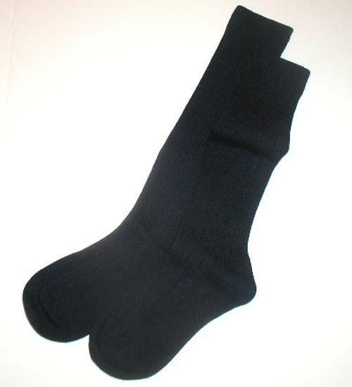 Girls Knee Socks - Navy Cotton Flat Knit Size 7 - 8.5