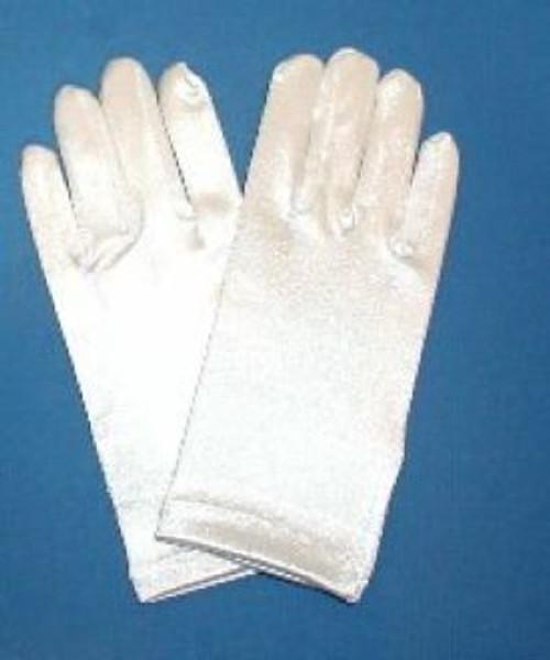 Girls gloves satin white